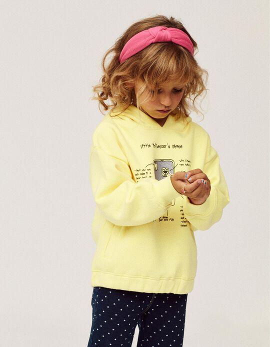 Hooded Sweatshirt for Girls 'Influencer', Yellow