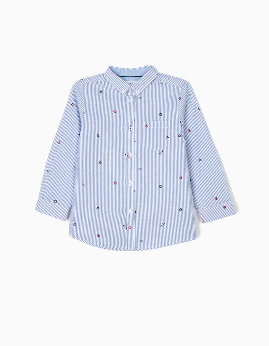 Camisa para Menino 'Sailor' Riscas, Azul e Branco