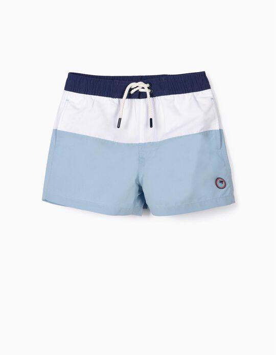 Short de bain garçon 'Rayures' Anti-UV 80, bleu et blanc