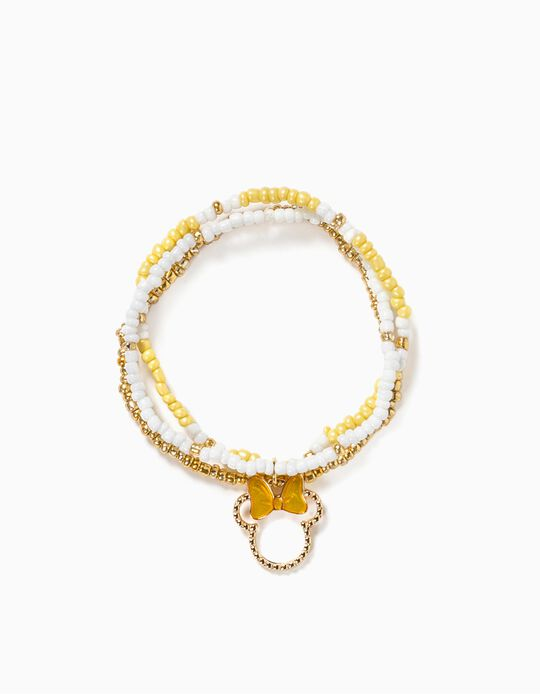 Tripe Bracelet for Girls, 'Minnie Mouse', White/Yellow/Gold