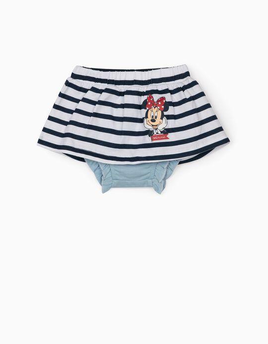 Skirt and Bloomer Shorts for Newborn Baby Girls, 'Minnie', Blue/White