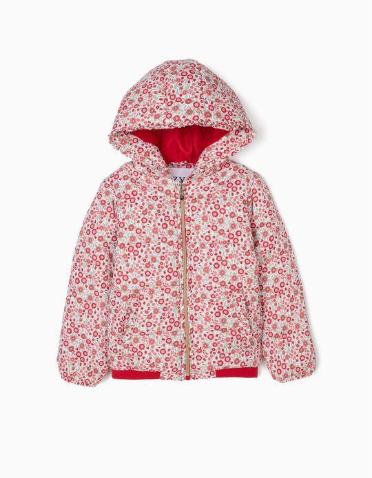 Blusão Acolchoado com Capuz para Menina Flores, Branco e Vermelho