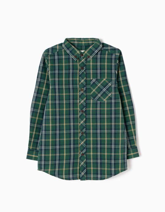 Camisa Ajedrez con Bolsillo Verde y Amarillo