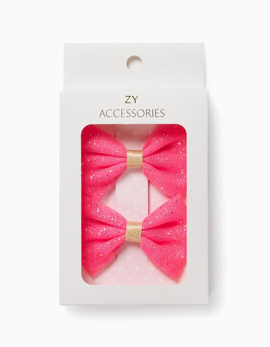 2 Hair Slides for Girls, 'Bows', Pink