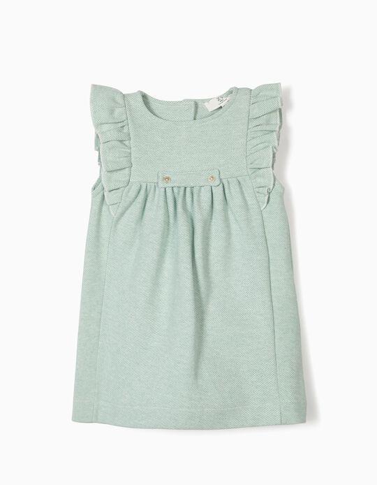 Vestido para Bebé Menina com Folhos, Verde