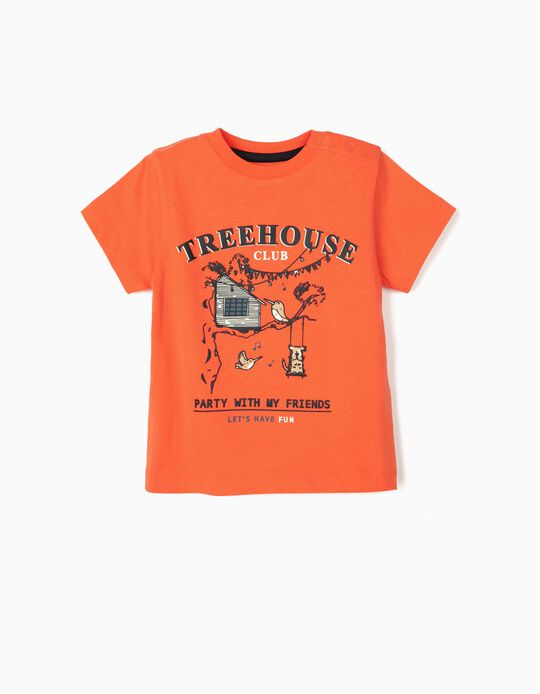 T-shirt for Baby Boys, 'Treehouse', Coral
