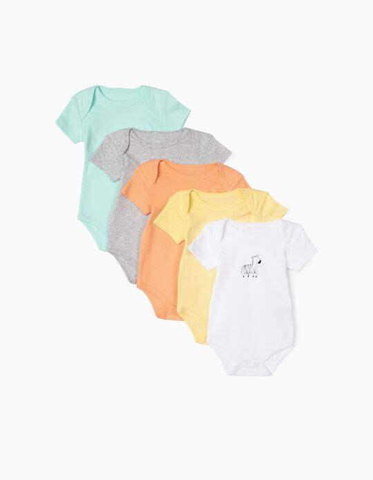 5 Bodysuits for Baby Boys, 'Animals', Multicoloured