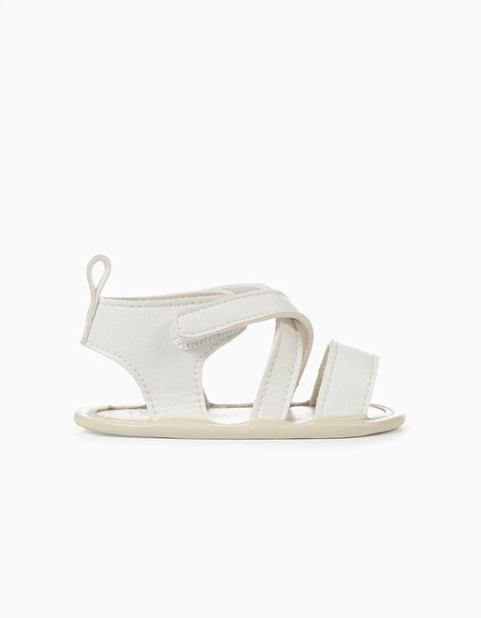 Sandals with Crossed Straps for Newborn Girls, White