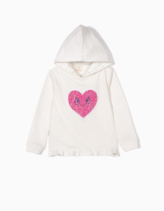Sudadera con Capucha para Niña 'Heart', Blanco