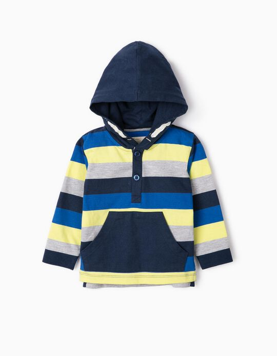 Hooded, Long Sleeve Top for Baby Boys, Multicoloured