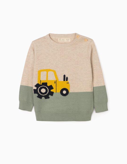 Camisola de Malha para Bebé Menino 'Tractor', Bege/Verde