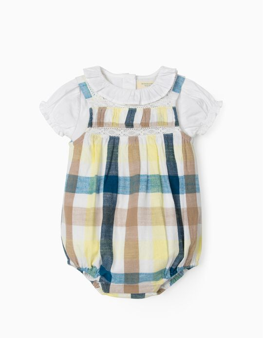 Jumpsuit & Blouse Bodysuit for Newborn Baby Girls, 'B&S', Chequered/White