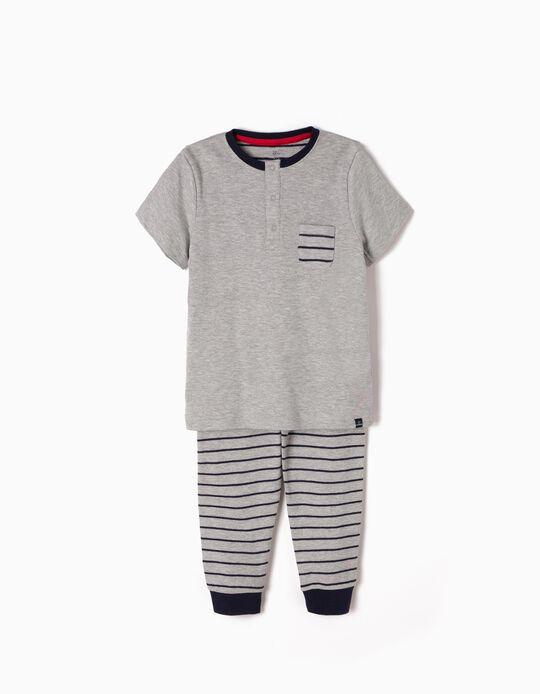 Pijama Manga Curta e Calças Riscas