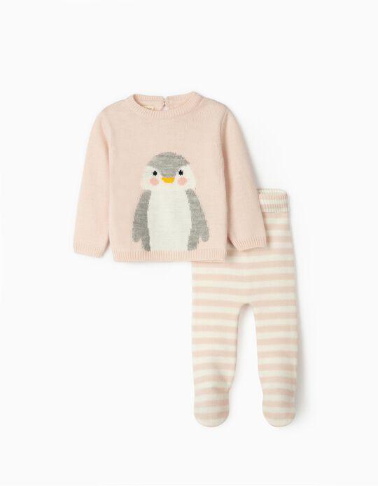 Camisola e Calças de Malha para Recém-Nascida 'Cute Penguin', Rosa