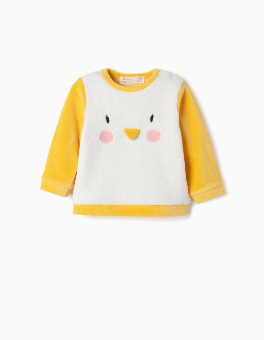 Sweatshirt para Recém-Nascido 'Pinguim', Branco e Amarelo