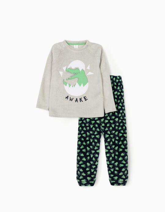 Pijama de Coralina para Niño 'Dino Awake', Gris/Azul