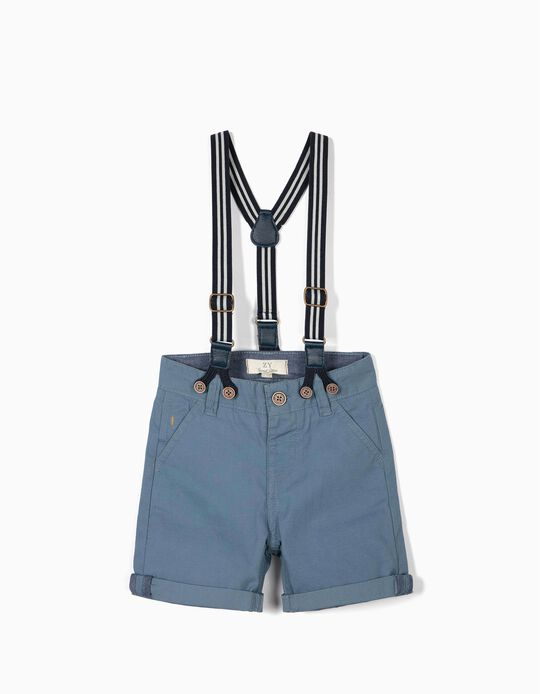 Shorts with Suspenders for Baby Boys, Blue