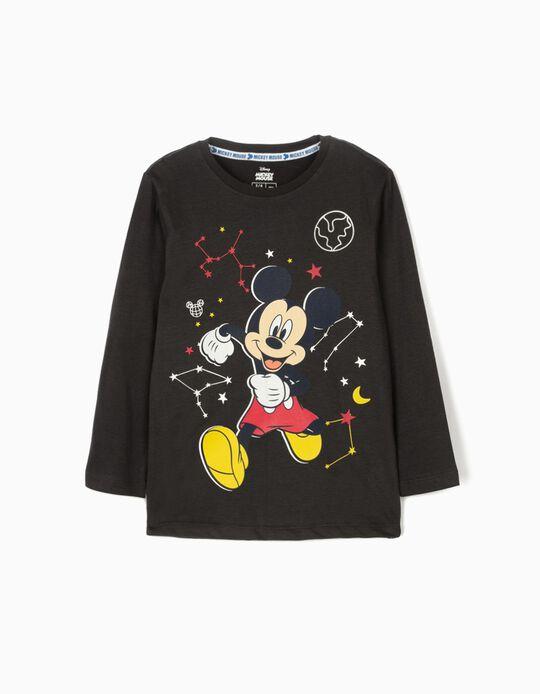 Camiseta de Manga Larga para Niño 'Mickey Space' Gris Oscuro