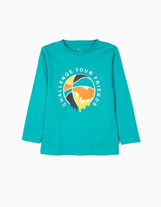 Camiseta de Manga Larga para Niño 'Basketball', Verde Azulada