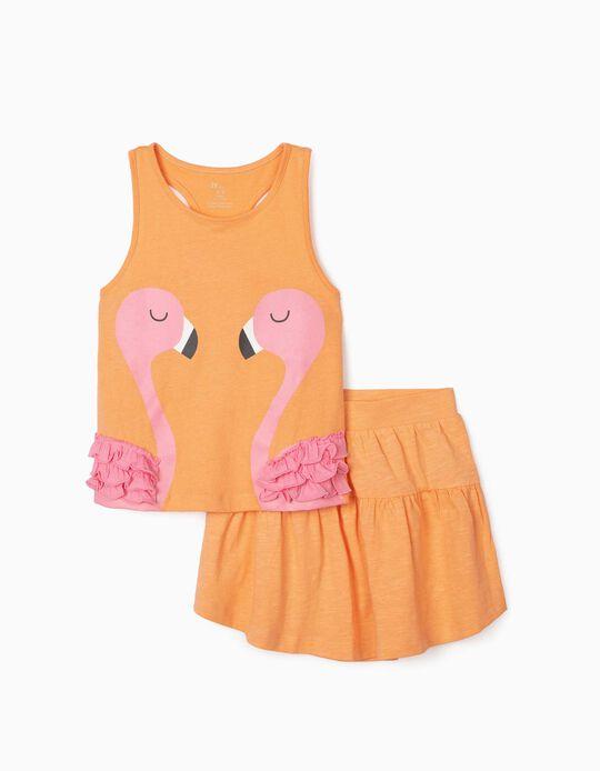 Top & Skirt for Girls, 'Flamingos', Salmon