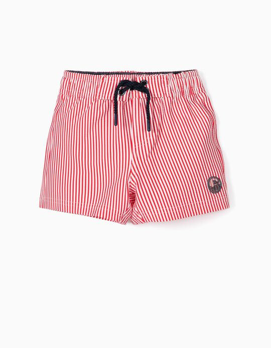 Striped Swim Shorts for Baby Boys, 'B&S' Anti-UV 80, Red