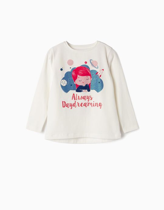 Camiseta de Manga Larga para Niña 'Daydreaming', Blanca