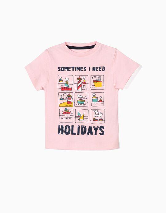 Camiseta para Bebé Niño 'Holidays', Rosa
