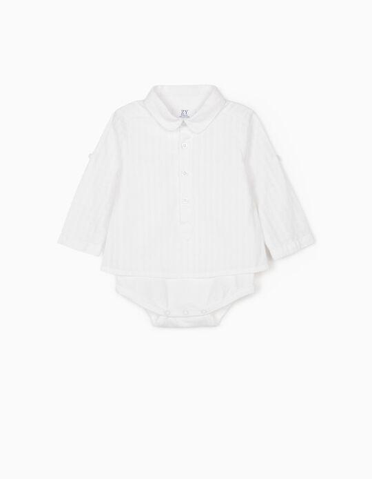Shirt Bodysuit for Newborn Baby Boys, White