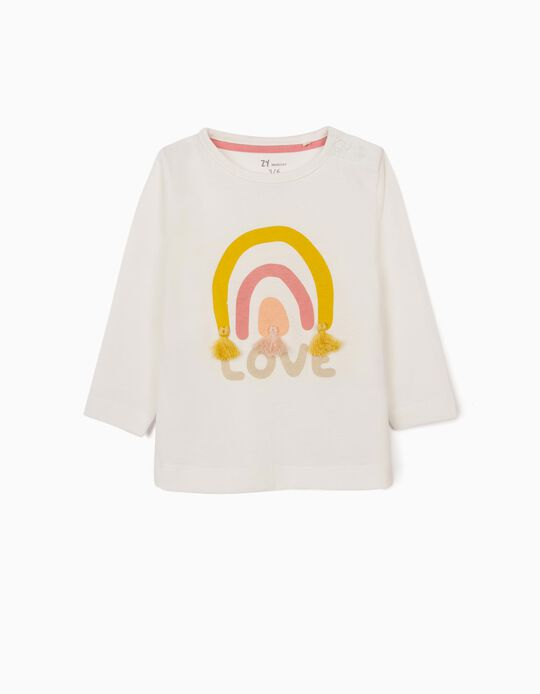 Long Sleeve Top for Newborn Baby Girls, 'Love', White