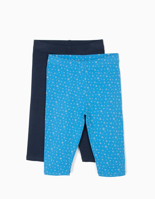 2 Leggings Curtas para Menina 'Stars', Azul