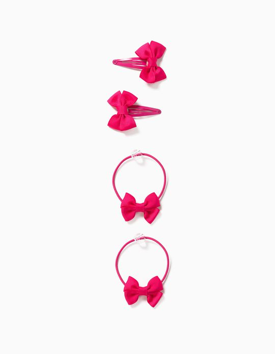 2 Hair Clips + 2 Bobbles for Girls, 'Bows', Pink