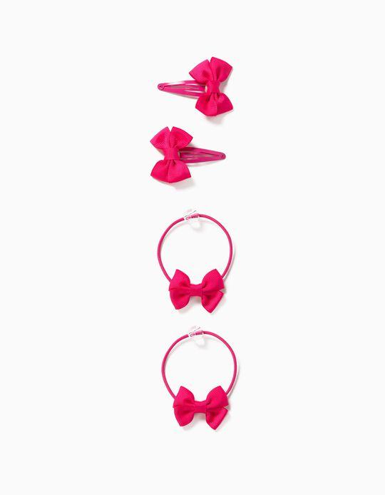 2 pinces + 2 élastiques fille 'Bows', rose