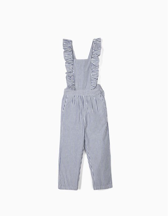 Striped Dungarees for Girls, Blue/White