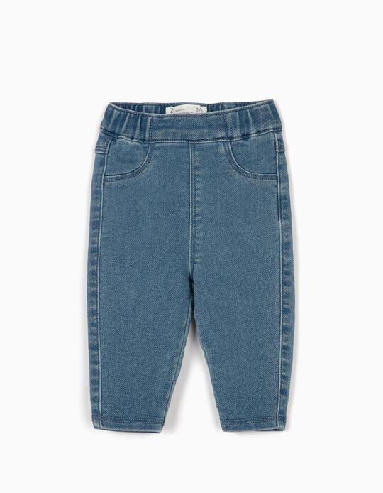 Pantalón para Recién Nacida 'Comfort Denim', Azul Claro