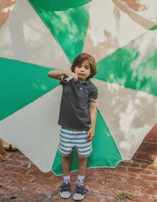 Bañador Short Protección UV 80 para Niño, Verde/Blanco