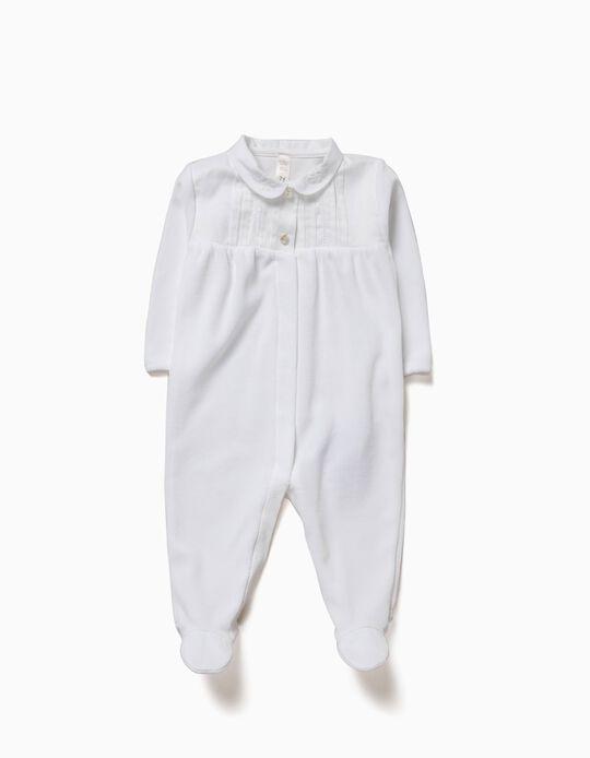 Babygrow Combinado Veludo Branco
