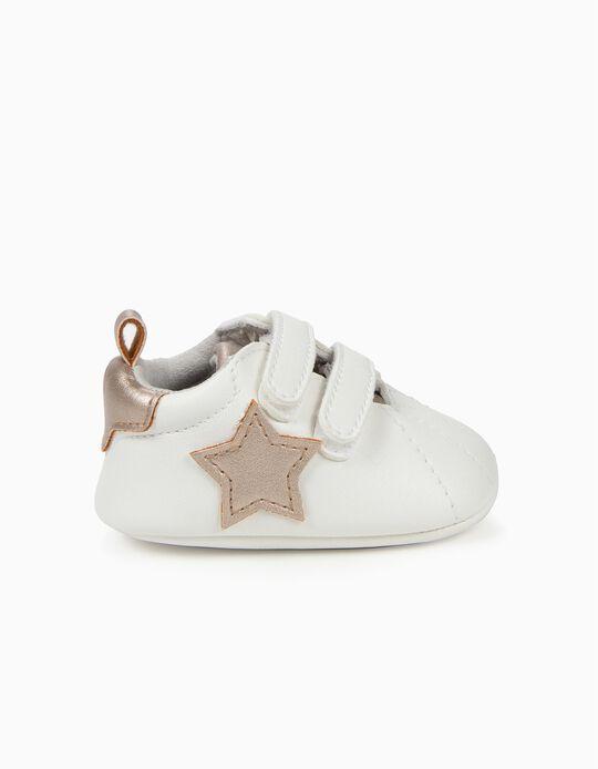 Zapatillas para Recién Nacida 'Estrellas', Blanco y Bronce