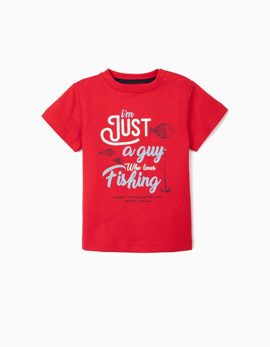 T-shirt for Baby Boys, UPF 30+ 'Love Fishing', Red