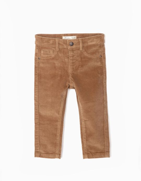 Corduroy Trousers for Baby Boys, Camel