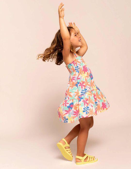 Robe fleurie à bretelles fille, multicolore