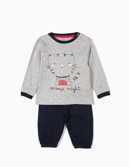 Pijama para Bebé Niño 'Meow Night', Gris y Azul