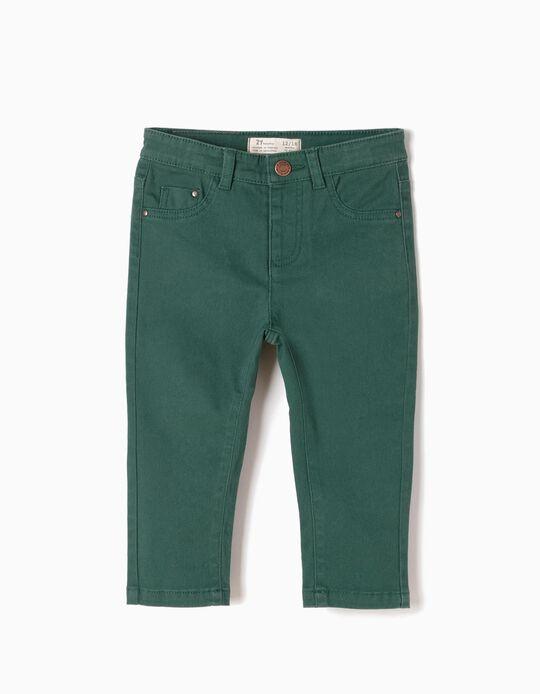Pantalón Bebé Niño Sarga Verde
