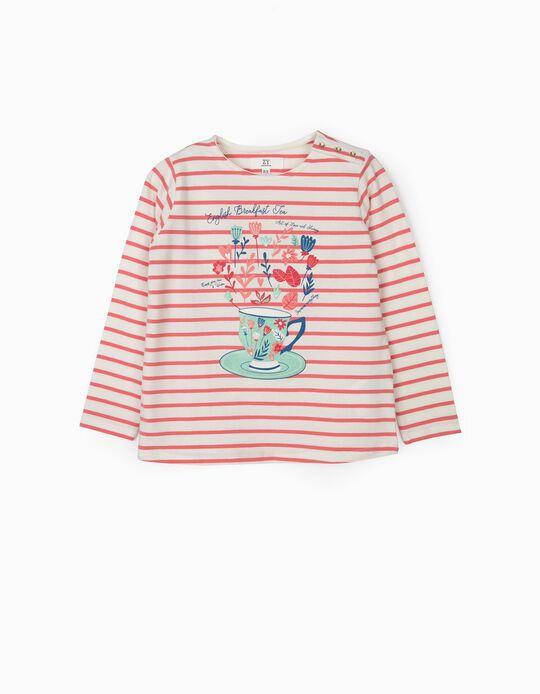 T-shirt Manga Comprida para Menina 'Tea' Riscas, Branco e Rosa