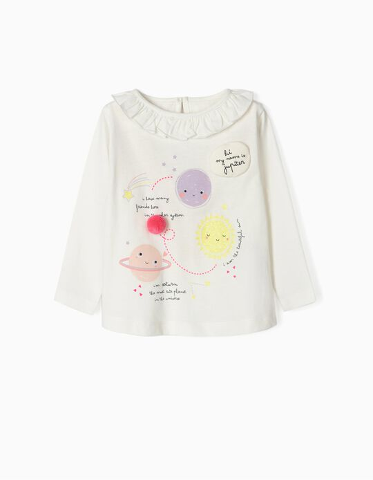 Long Sleeve Top for Baby Girls 'Space', White