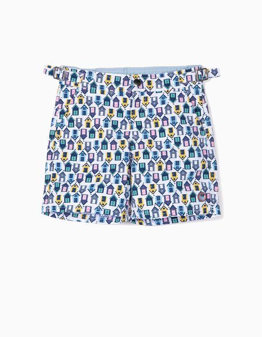 Swim Shorts for Boys, 'Huts', Multicoloured