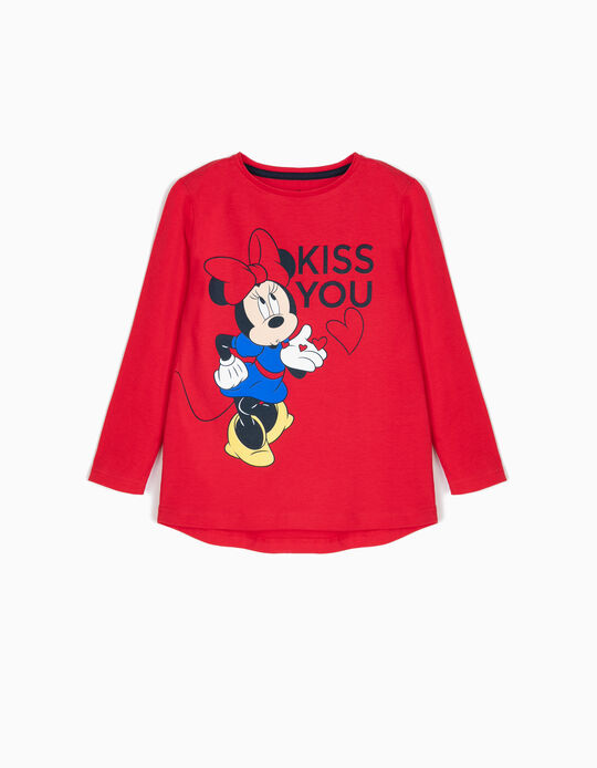 Camiseta de Manga Larga Minnie Kiss Roja