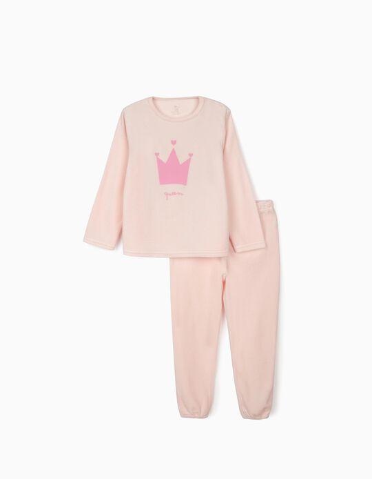 Pijama Veludo para Menina 'Queen', Rosa