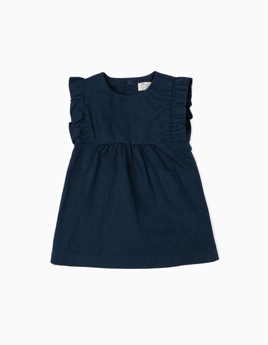 Vestido para Recém-Nascida com Tapa-Fraldas, Azul Escuro