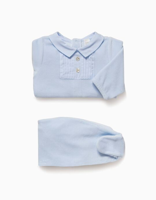 Pijama Veludo Combinado Azul