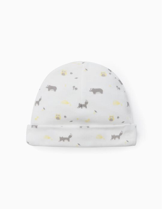 Printed Beanie for Newborn Baby Boys, 'WH', White